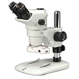 EM-51L Trinocular Stereo Entry-Level Industrial and Educational Microscope with 6.7X - 45X Zoom  Range Magnification on a pole stand