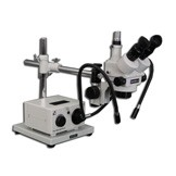 MDM-5TR Trinocular Zoom Stereo Microscope with Fiber Optic Dual Arm Light on a Boom Stand with 150mm Working Distance