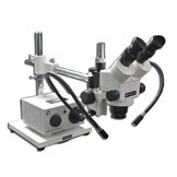 "MDM-8TR Trinocular Zoom Stereo Microscope with Fiber Optic Dual Arm Light on a Boom  Stand with 174mm( 6.9"") Working Distance"
