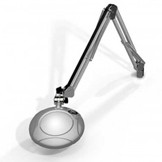 "MG800/2XSIL Round 2x Magnifier 5"" with 43"" reach, with table edge clamp, Silver finish"
